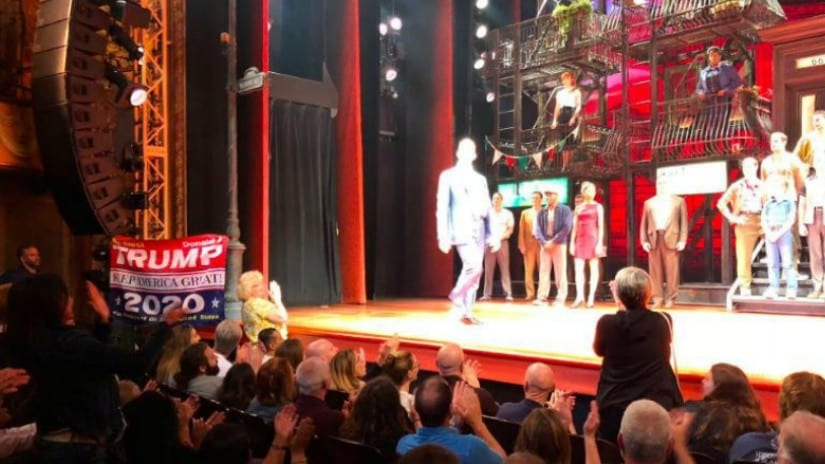 The banner supporting Donald Trump at Robert De Niro's Broadway Musical. Image from Twitter