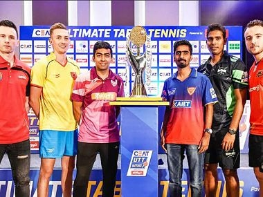 The six captains at the unveiling of the trophy. Image courtesy: Twitter @UltTableTennis