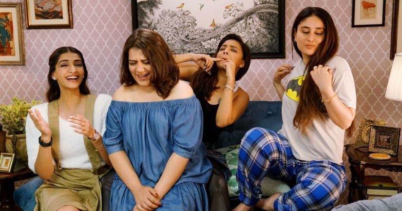 Sonam Kapoor Ahuja, Shikha Talsania, Swara Bhasker and Kareena Kapoor Khan in a still from Veere Di Wedding. YouTube