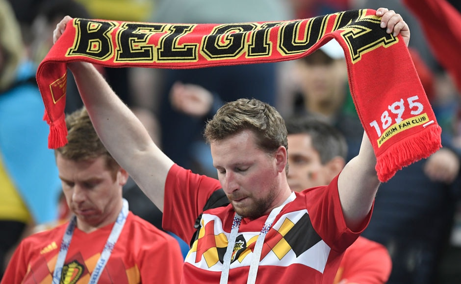A dejected Belgium fan, shows support after Red Devil's exit in the semi-final round of the World Cup. AFP