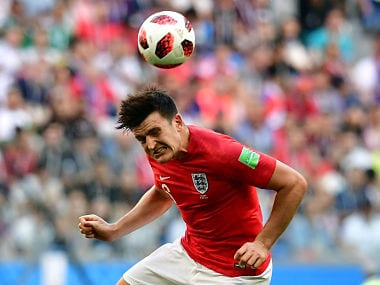 England's defender Harry Maguire heads the ball during their Russia 2018 World Cup play-off for third place football match between Belgium and England at the Saint Petersburg Stadium in Saint Petersburg on July 14, 2018. / AFP PHOTO / Giuseppe CACACE / RESTRICTED TO EDITORIAL USE - NO MOBILE PUSH ALERTS/DOWNLOADS