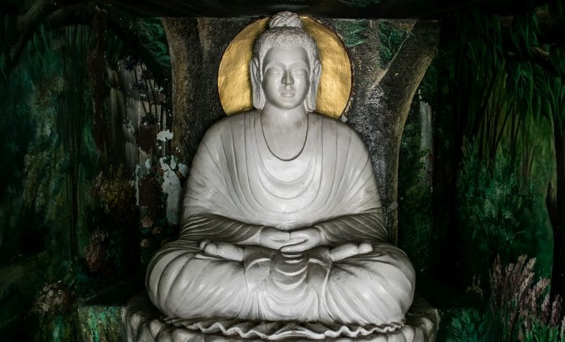 The nine feet statue of Buddha in Korochi village is the first idol Yashwant sculpted three decades ago.