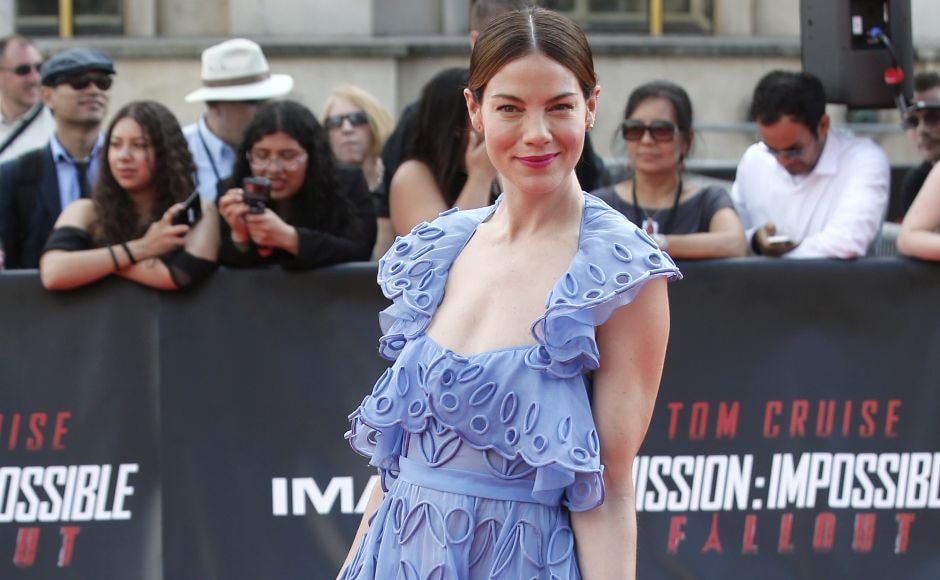 Michelle Monaghan arrives at the world premiere of Mission Impossible: Fallout in Paris. AP Photo/Thibault Camus