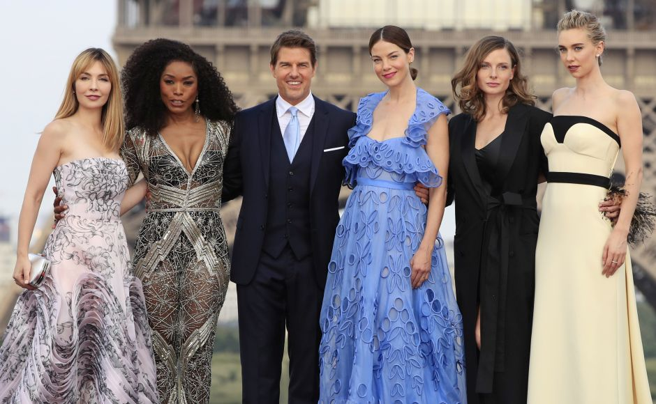 (From L-R) Actors Alix Benezech, Angela Bassett, Tom Cruise, Michelle Monaghan, Rebecca Ferguson and Vanessa Kirby pose for photographers upon arrival at the world premiere of Mission Impossible: Fallout in Paris. AP Photo/Thibault Camus