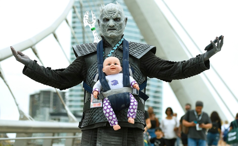 Ramsey Tugoz of Long Beach, California, dressed as the Night King from Game of Thrones, attends Comic-Con International on Friday, July 20, 2018, in San Diego. The Associated Press/Chris Pizzello