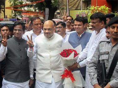 BJP President Amit Shah with Maharashtra Chief Minister Devendra Fadnavis. PTI