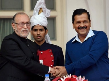File image of Delhi chief minister Arvind Kejriwal with Lieutenant Governor Anil Baijal. PTI