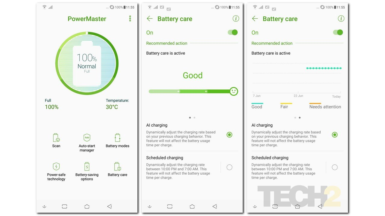 Asus's ZenFone 5Z has plenty of customisations when it comes to battery life.