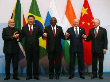 (From left) Prime Minister Narendra Modi, China's president Xi Jinping, South Africa's president Cyril Ramaphosa, Russia's president Vladimir Putin and Brazil's president Michel Temer. Reuters