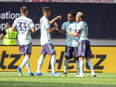 Renato Sanchez celebrates his goal with teammates. Image courtesy: Twitter @FCBayern