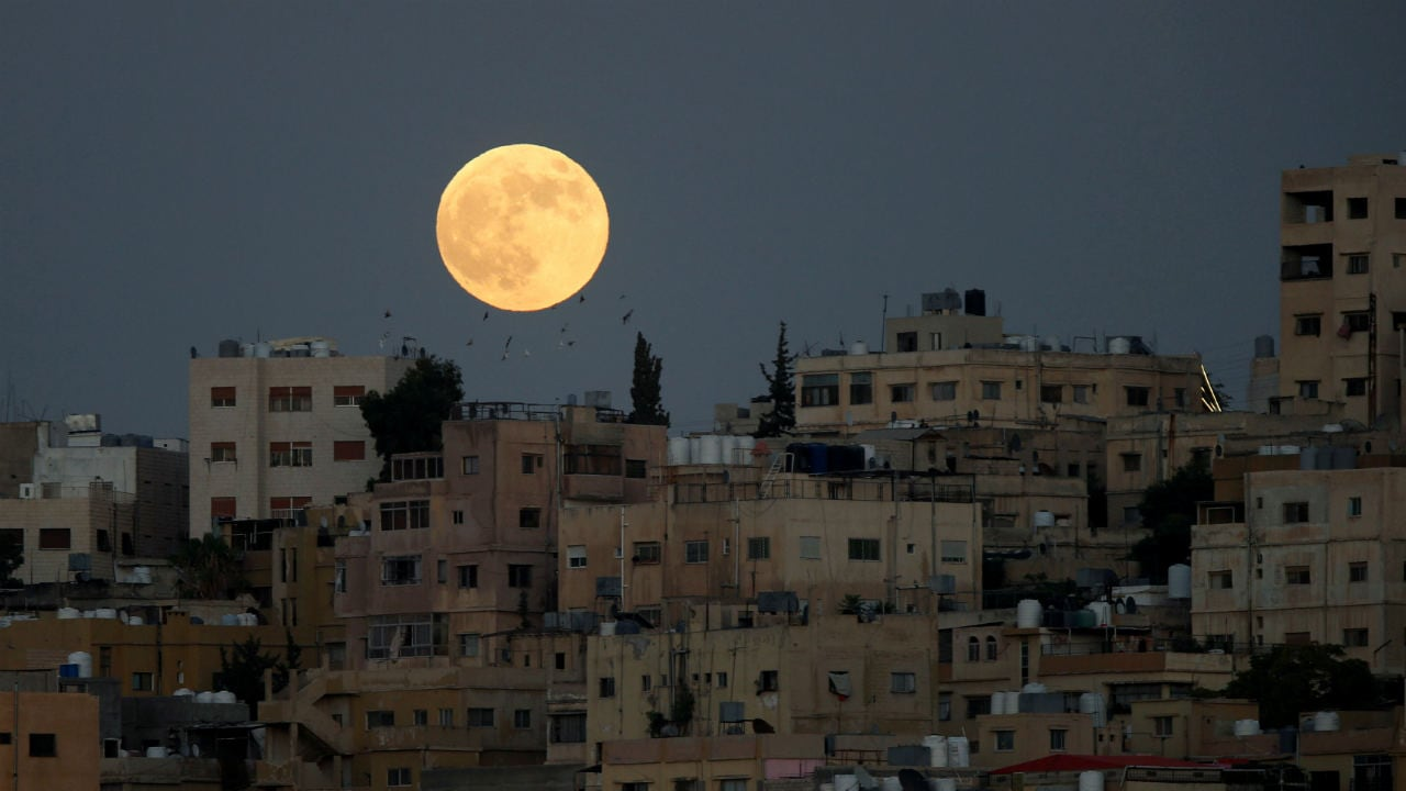 Amman looked lucky with a clear sky and massive view of the blood moon. It was a sight that brought solace to sore eyes. Location: Jordan, Image: Reuters