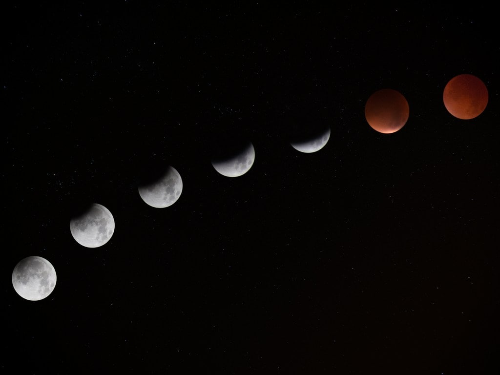 Stages of blood moon. Image: Jake Hills