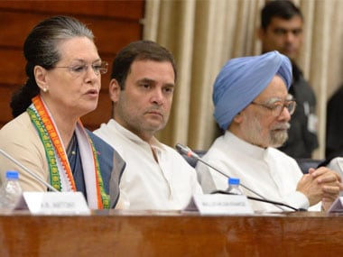 UPA chairperson Sonia Gandhi, Congress chief Rahul Gandhi and former prime minister Manmohan Singh at the CWC meet on Sunday. Twitter @INCIndia