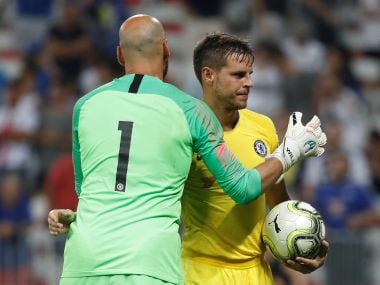 Chelsea's Cesar Azpilicueta and Willy Caballero during the penalty shootout against Inter Milan. Reuters
