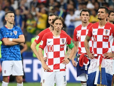 The Croatians wear a dejected look during the presentation ceremony after their 4-2 loss to France in the final. AFP