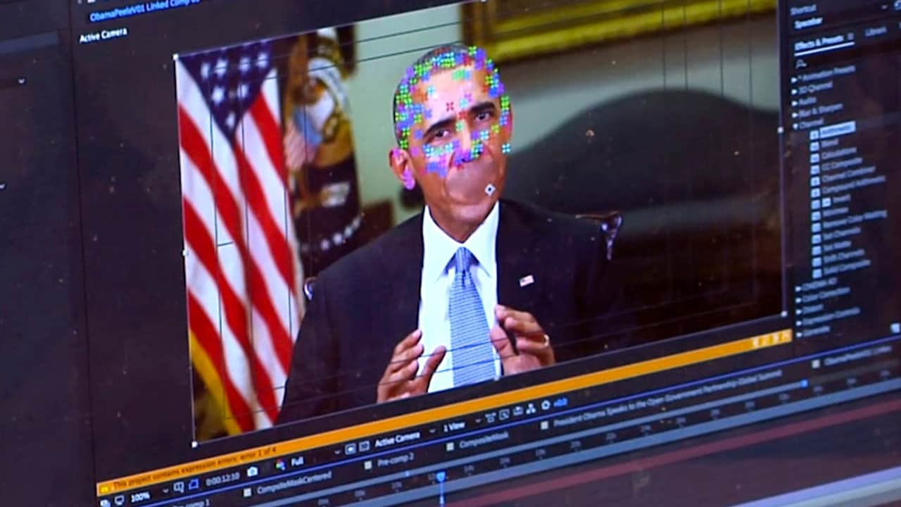This image made from video of a fake video featuring former President Barack Obama shows elements of facial mapping used in new technology that lets anyone make videos of real people appearing to say things they've never said. AP