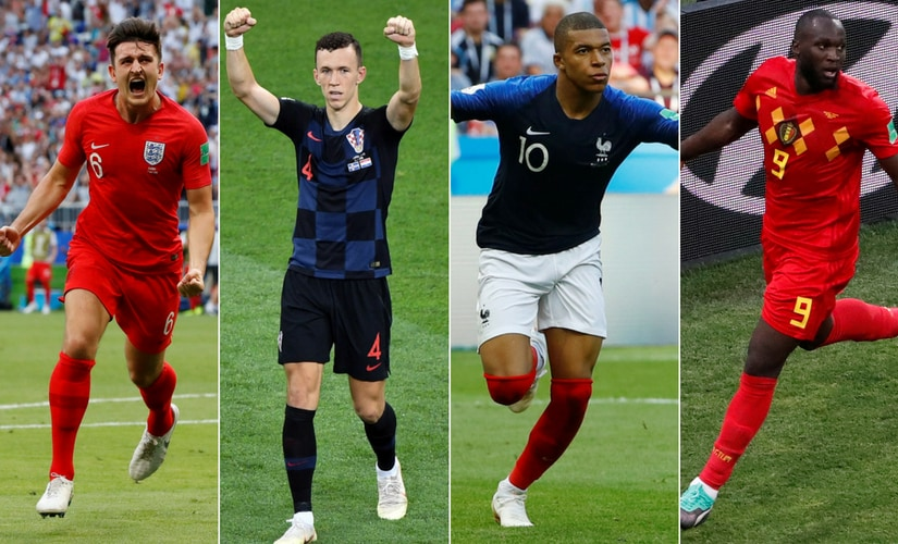 England's Harry Maguire Croatia's Ivan Perisic France's Kylian Mbappe and Belgium's Romelu Lukaku will feature in the World Cup semi-finals. Agencies
