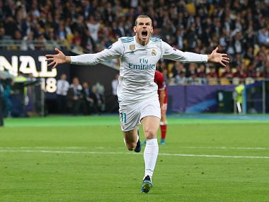 Soccer Football - Champions League Final - Real Madrid v Liverpool - NSC Olympic Stadium, Kiev, Ukraine - May 26, 2018 Real Madrid's Gareth Bale celebrates scoring their second goal REUTERS/Hannah McKay TPX IMAGES OF THE DAY - RC1459A755F0
