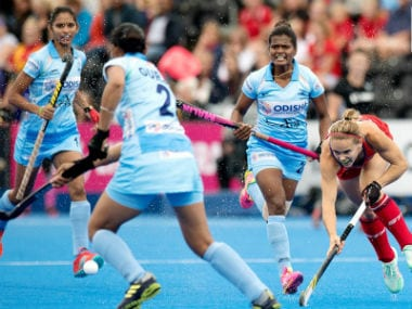 The Indian team in action against the USA. Image credit: Twitter/@TheHockeyIndia