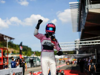 India's Jehan Daruvala celebrates his pole to victory in Spa. Twitter: @JehanDaruvala