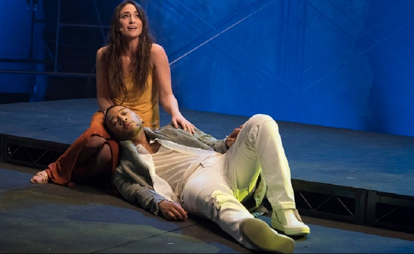 "John Legend as Jesus Christ, and Sara Bareilles as Mary Magdalene from the NBC production, ""Jesus Christ Superstar Live In Concert."" The musical was nominated for an Emmy for outstanding variety special. (Virginia Sherwood/NBC via The Associated Press)"