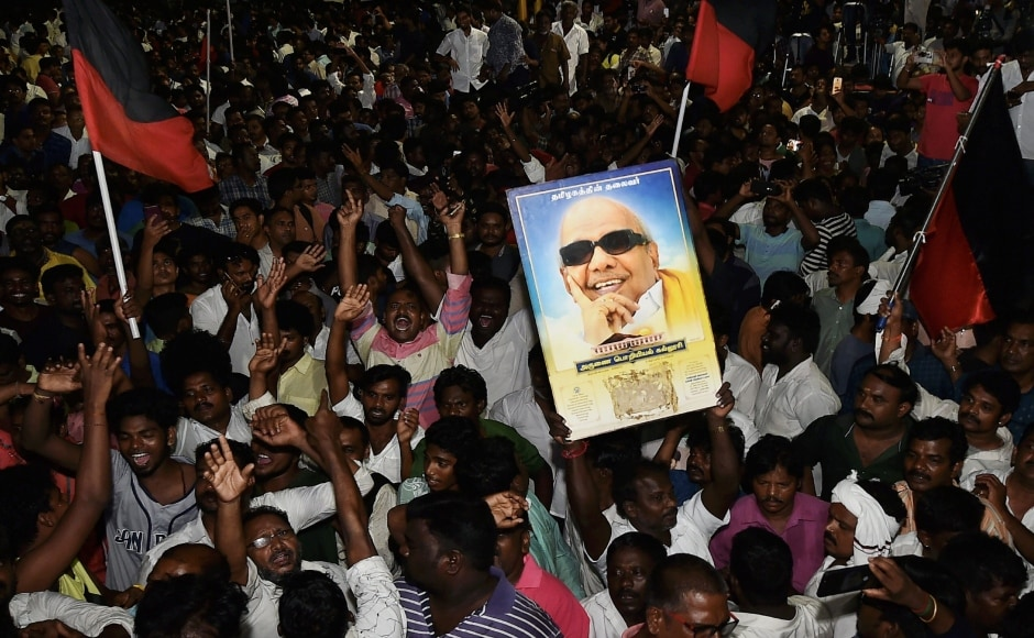 In addition to those mentioned above, hundreds of DMK supporters came to the hospital to show their support and concern as well. They gathered outside with posters and flags. PTI