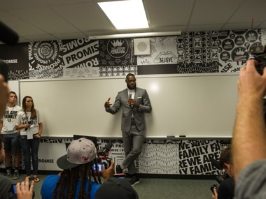 LeBron James has opened a school in his hometown of Akron Ohio. AP