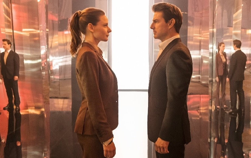 Rebecca Ferguson and Tom Cruise in a still from Mission: Impossible - Fallout. Image via Twitter