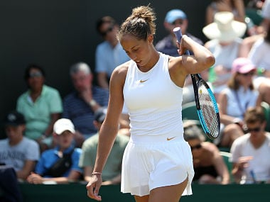 US player Madison Keys reacts against Russia's Evgeniya Rodina during their women's singles third round match on the fifth day of the 2018 Wimbledon Championships at The All England Lawn Tennis Club in Wimbledon, southwest London, on July 6, 2018. Rodina won the match 7-5, 5-7, 6-4. / AFP PHOTO / Daniel LEAL-OLIVAS / RESTRICTED TO EDITORIAL USE