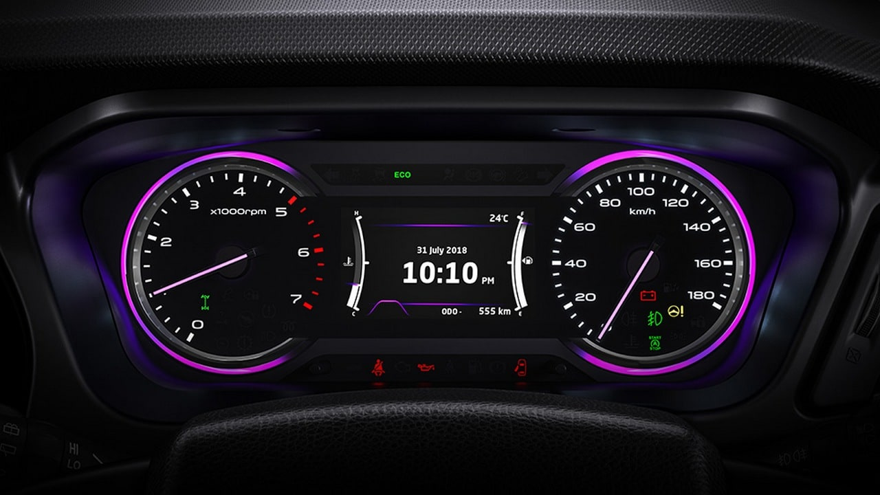 A futuristic purple themed cluster with 3D light guides and animated colour screen. Image: Mahindra Marazzo