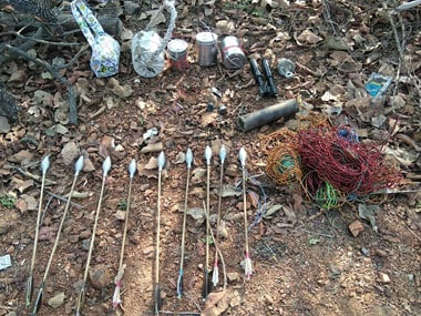 Maoist weapons mortars, rocket launcher shells, IEDs, tiffin box bombs, detonators etc. Firstpost/Debobrat Ghose