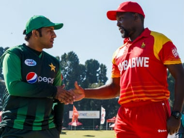 Sarfraz Ahmed and Hamilton Masakadza, captain of Pakistan and Zimbabwe respectively. AFP