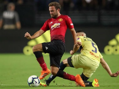 Manchester United's Juan Mata in action against Club America. Twitter: @ManUtd