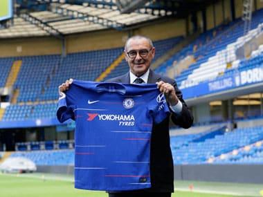 Maurizio Sarri has joined Chelsea from Napoli, bringing midfielder Jorginho along with him. AP