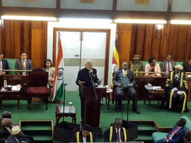 Narendra Modi delivers keynote address in Ugandan Parliament on Wednesday. Twitter@MEA