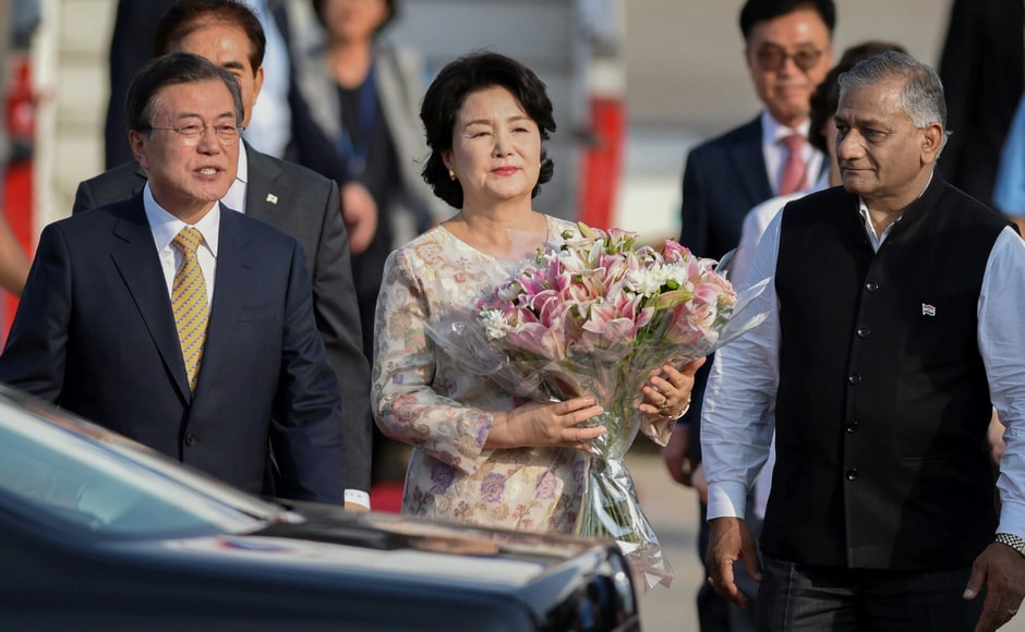 South Korean president Moon Jae-in with First Lady Kim Jung-sook arrived in India on 8 July for a 4-day visit. The president was welcome by Minister of State for External Affairs Gen (retd) VK Singh on their arrival at Air Force Station, New Delhi. PTI