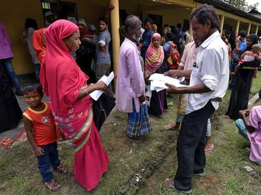 People outside an NRC Centre in Assam. File image. Reuters