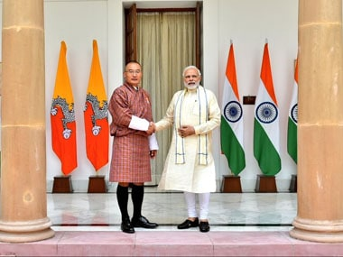 Prime Minister Narendra Modi with Bhutanese counterpart Tshering Tobay. Twitter @MEAIndia