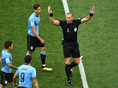 Argentine referee Nestor Pitana gestures during quarter-final match between Uruguay and France at the Nizhny Novgorod Stadium. AFP