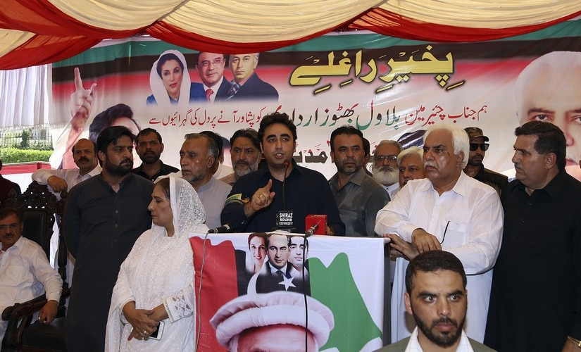 PPP's Bilawal Bhutto Zardari addresses his supporters in Peshawar. AP
