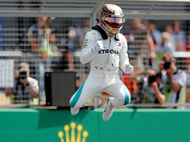 Formula One F1 - British Grand Prix - Silverstone Circuit, Silverstone, Britain - July 7, 2018 MercedesÕ Lewis Hamilton celebrates after qualifying in pole position Action Images via Reuters/Matthew Childs - RC145A8A8E70