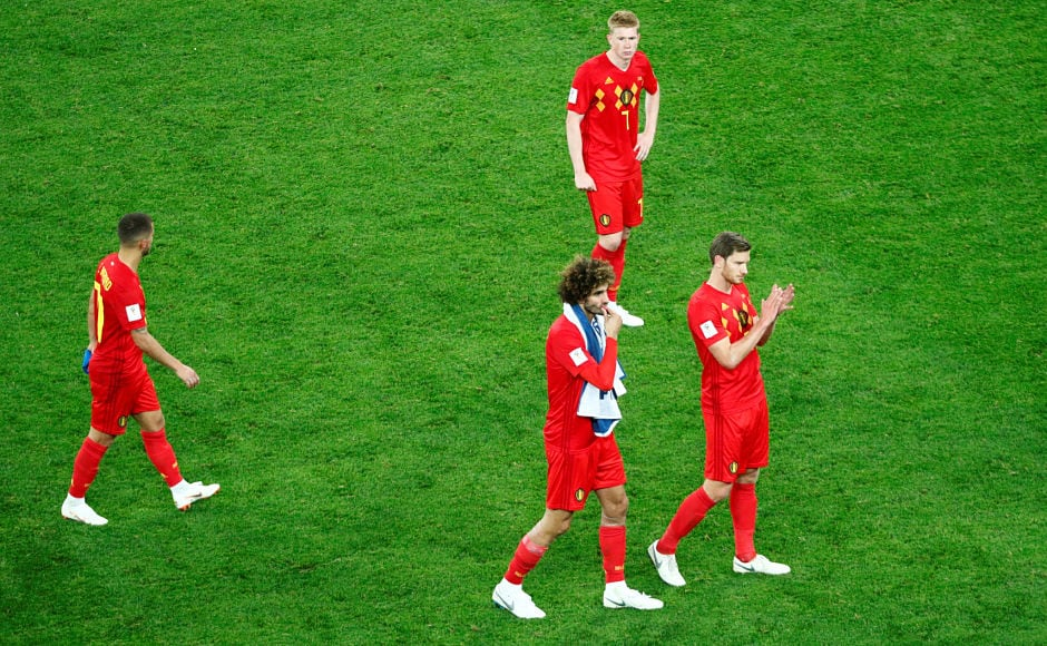 After the heart-wrenching loss Belgium players – Eden Hazard, Marouane Fellaini, Kevin De Bruyne and Jan Vertonghenacknowledge the supporters atSaint Petersburg Stadium. Reuters