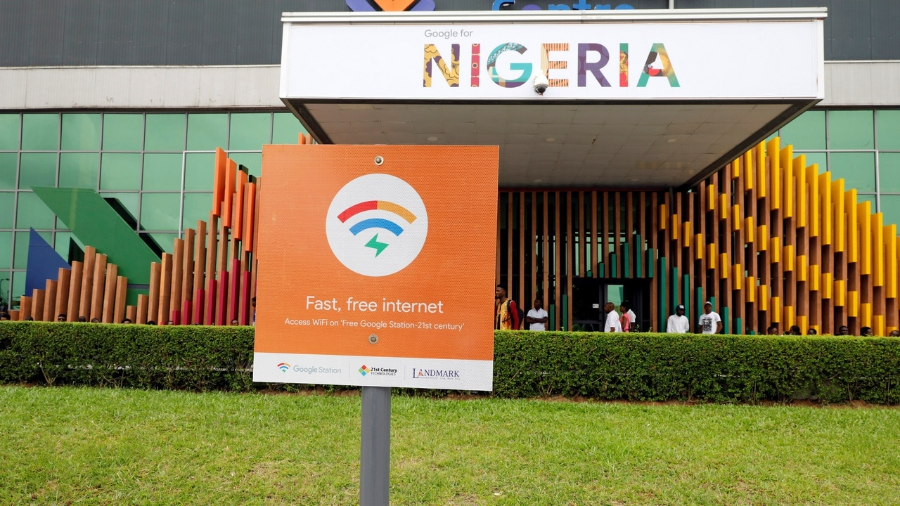 A sign is seen outside the venue of the launch of Google free wifi project in Lagos, Nigeria July 26, 2018. REUTERS/Akintunde Akinleye - RC1786934600