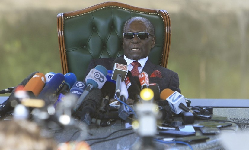 Former Zimbabwean -president Robert Mugabe at a press briefing at his residence in Harare ahead of election. AP