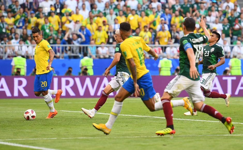 Brazil successfully navigated through a period of early pressure from Mexico to win 2-0 against the North Americans. Neymar and Roberto Firmino scored at the end of devastating counterattacks to take the Selecao into the quarterfinals. AFP