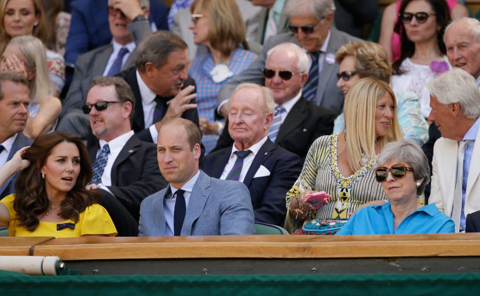 The Wimbledon audience also featured several familiar faces, with the Duke and Duchess of Cambridge, as well as the British Prime Minister Theresa May in attendance. AP