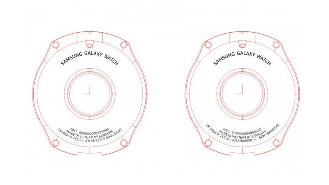 Diagram of the two Samsung Galaxy smartwatches in the FCC document. Image: GSMArena