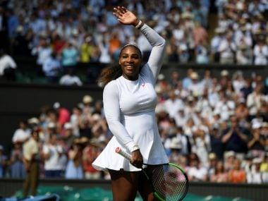 Serena Williams celebrates winning her semi-final match against Julia Goerges. Reuters