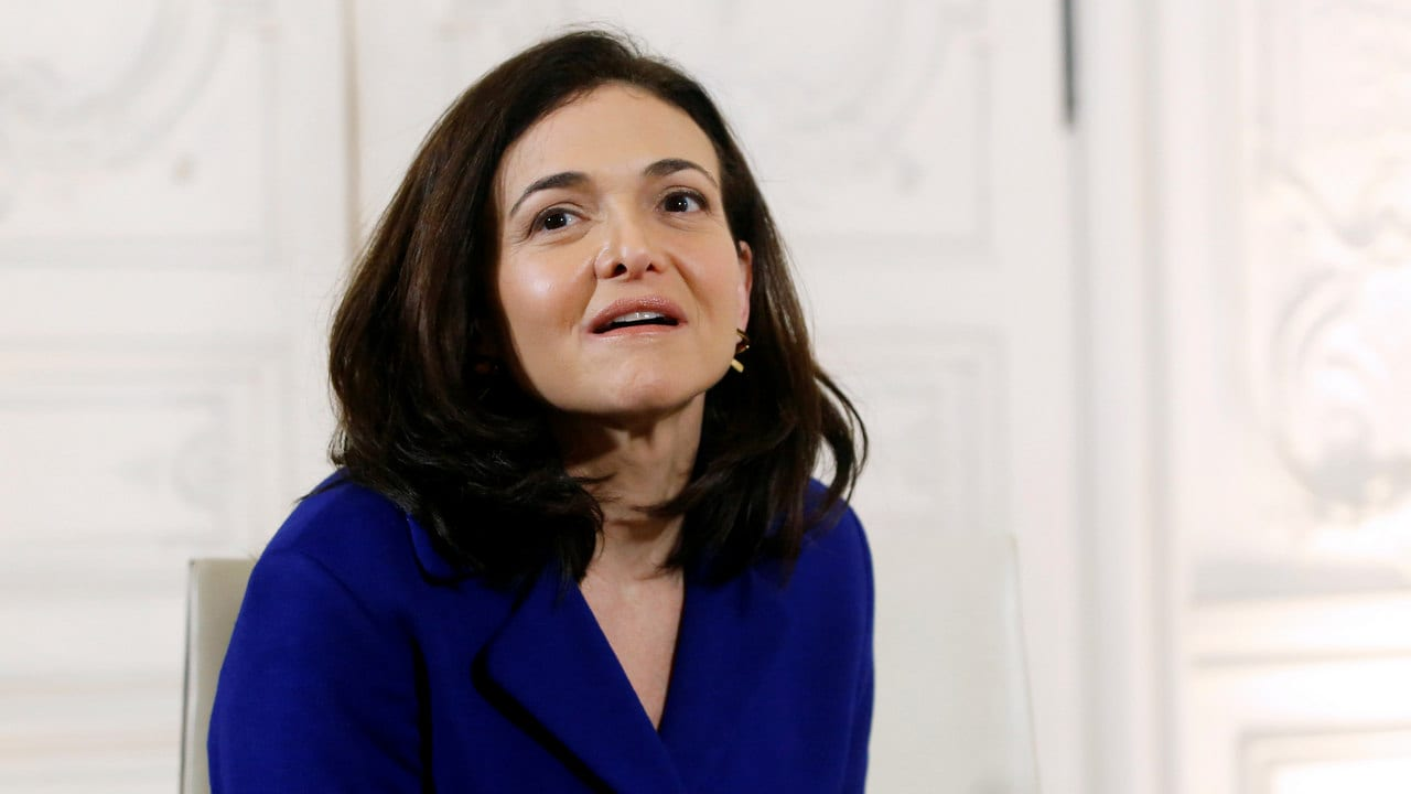 Chief Operating Officer of Facebook, Sheryl Sandberg attends a meeting with the French President Emmanuel Macron (not pictured), during the