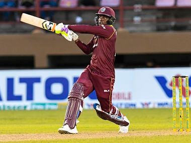 Shimron Hetmyer of Windies in action during the 2nd ODI match against Bangladesh at Guyana National Stadium. AFP
